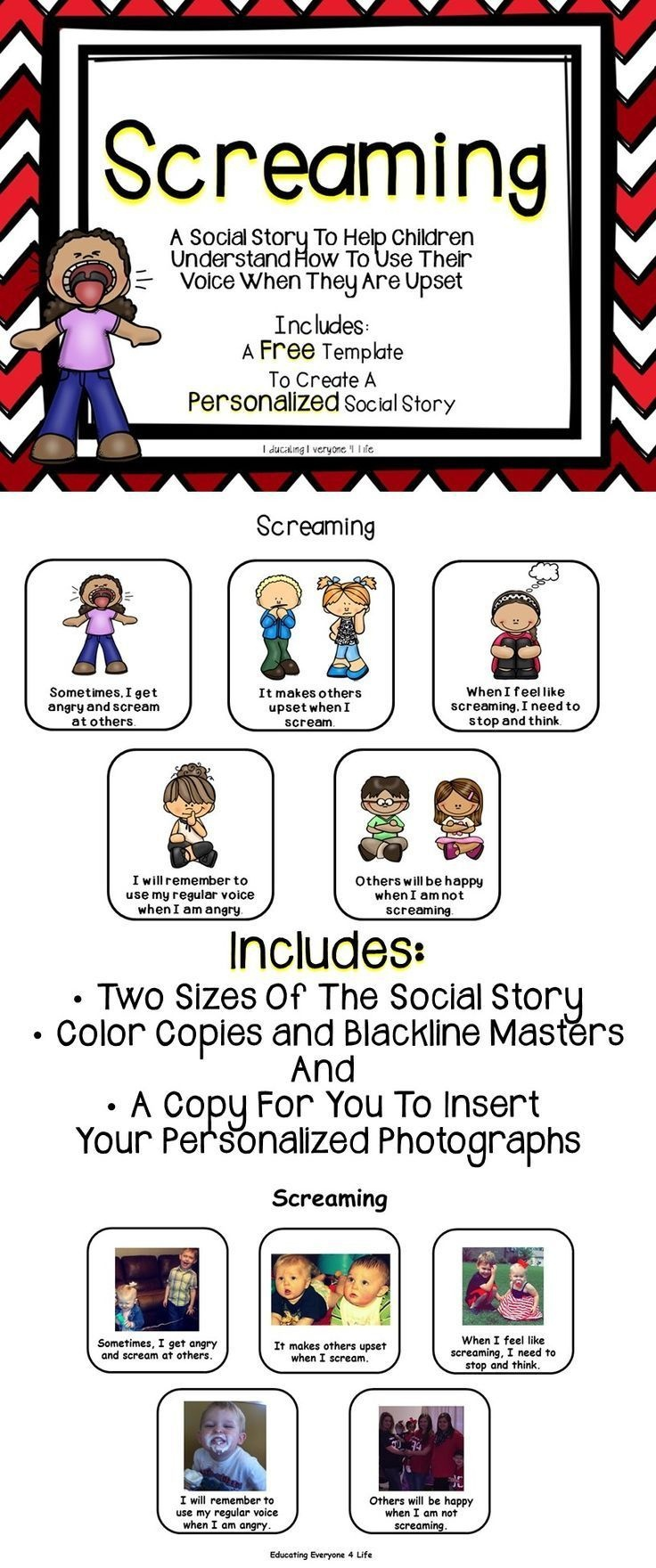 Social Story - Screaming | Visuals For Special Ed | Soziales Lernen - Free Printable Social Stories For Kids