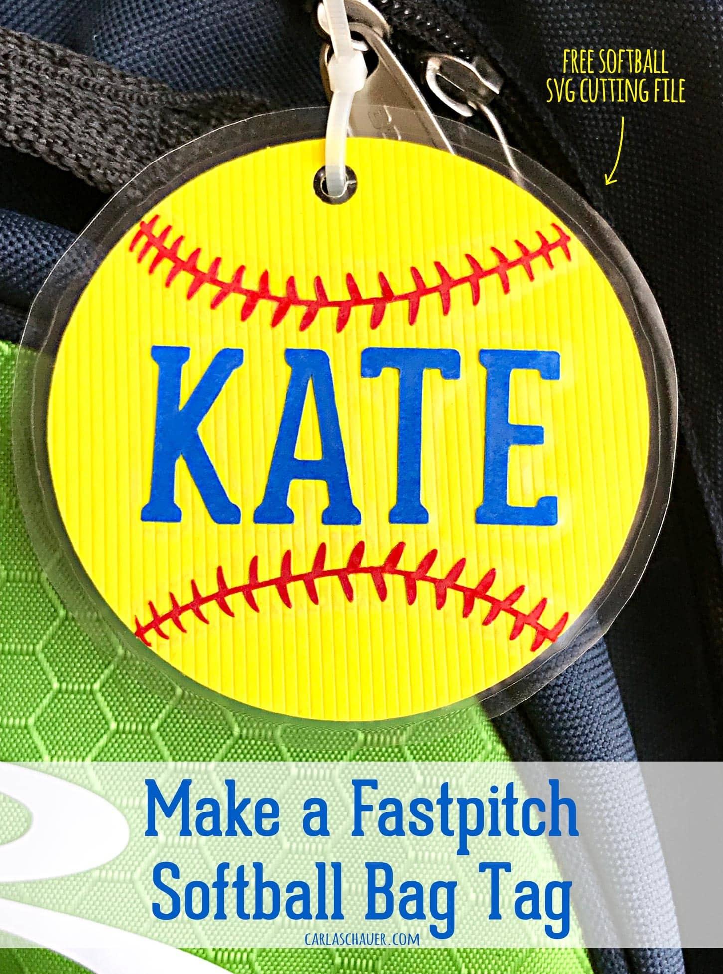 Softball Craft: Make A Softball Bag Tag   Carla Schauer Designs - Free Printable Softball Pictures