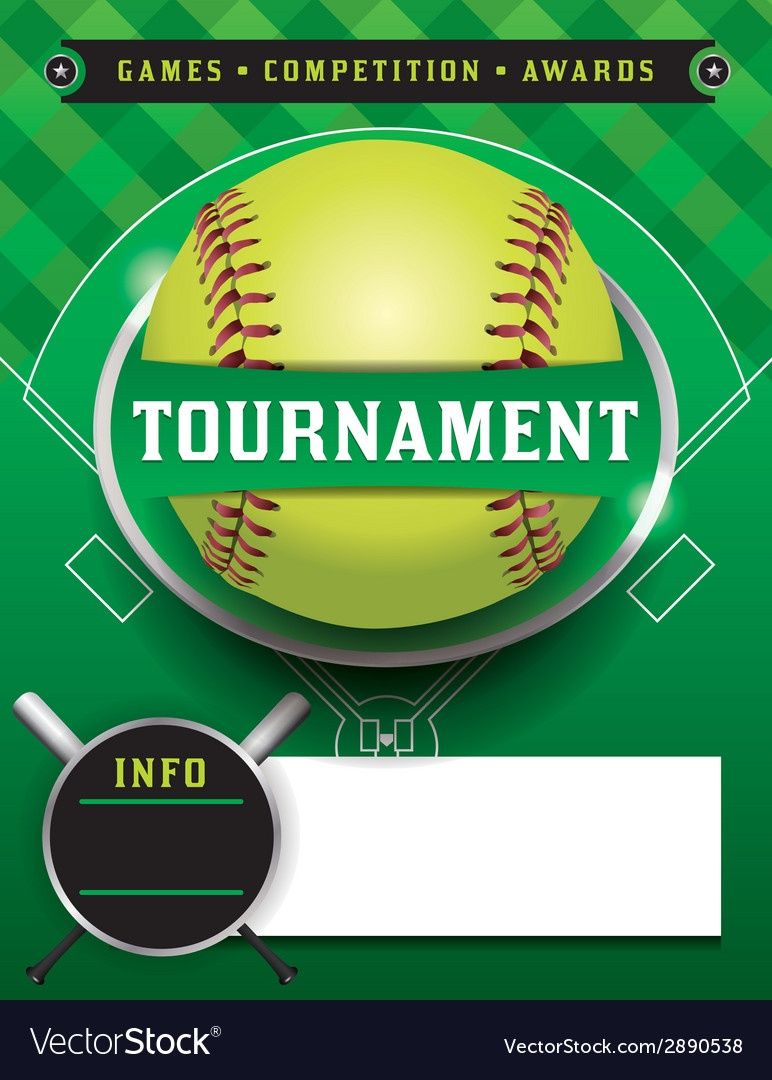 Softball Tournament Template Royalty Free Vector Image - Free Printable Softball Pictures
