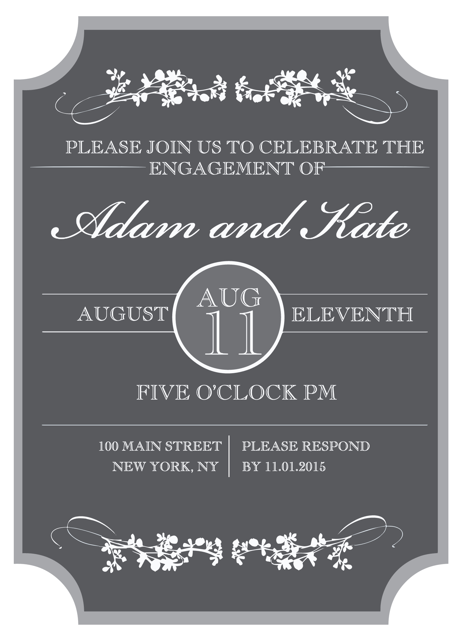 Sophisticated Engagement Party Free Printable Invitation - Free Printable Engagement Party Invitations