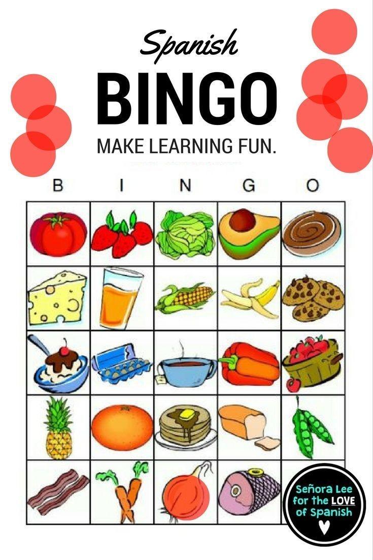 Spanish Food - Bingo | Español | Spanish Lessons For Kids, Spanish - Free Printable Spanish Bingo Cards