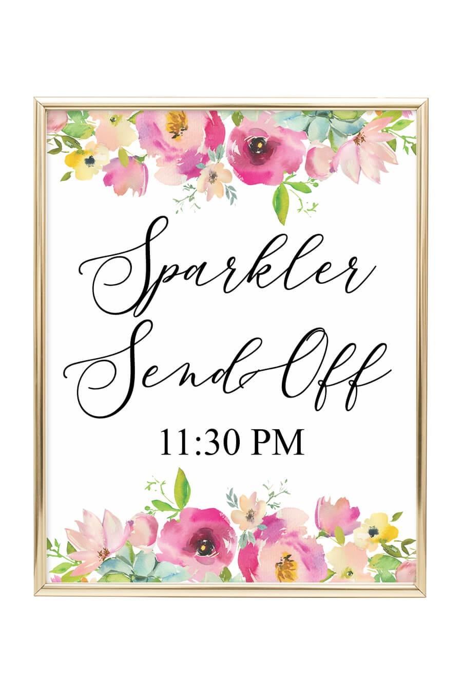Sparkler Send Off Printable Sign (Pink Floral) - Chicfetti - Free Printable Wedding Sparkler Sign