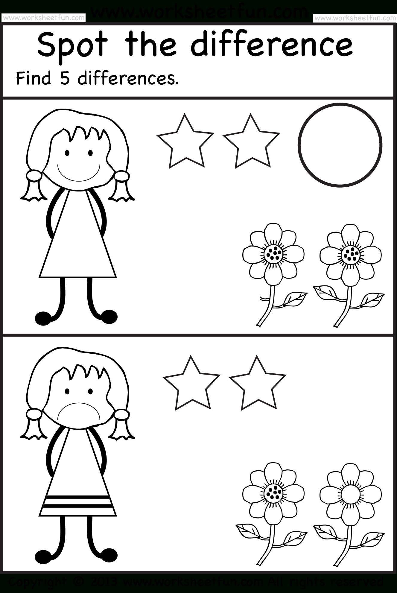 Spot The Differences   Pre K Activities   Kindergarten Worksheets - Free Printable Spot The Difference Worksheets