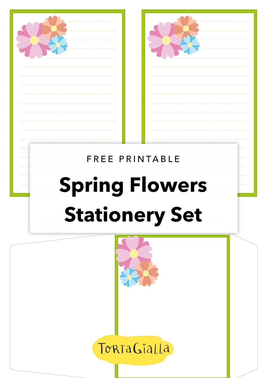 Spring Flowers Stationery Set - A Printable Freebie | Printables - Free Printable Spring Stationery