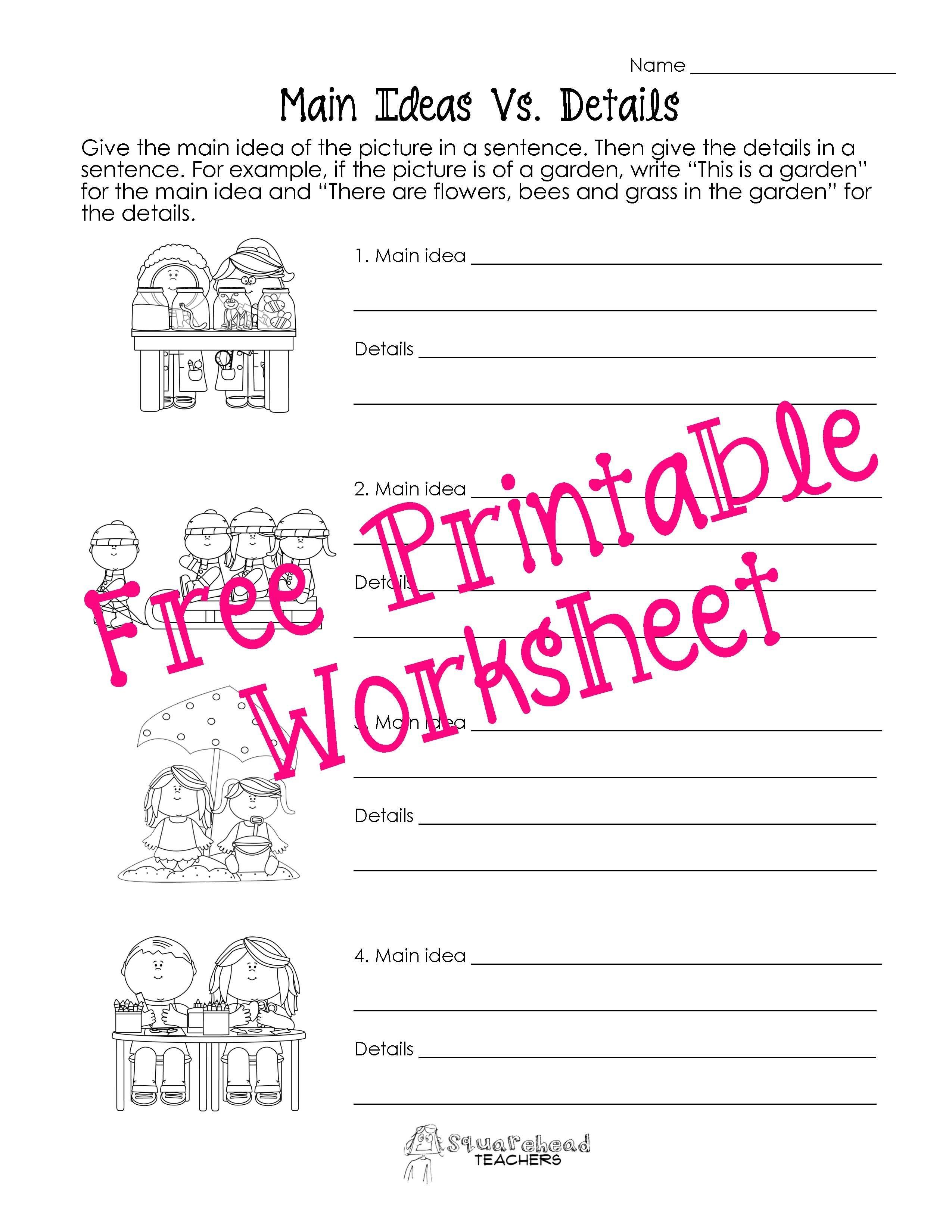 Squarehead Teachers: Main Idea Vs. Details Worksheets. Genius - Free Printable Main Idea Worksheets