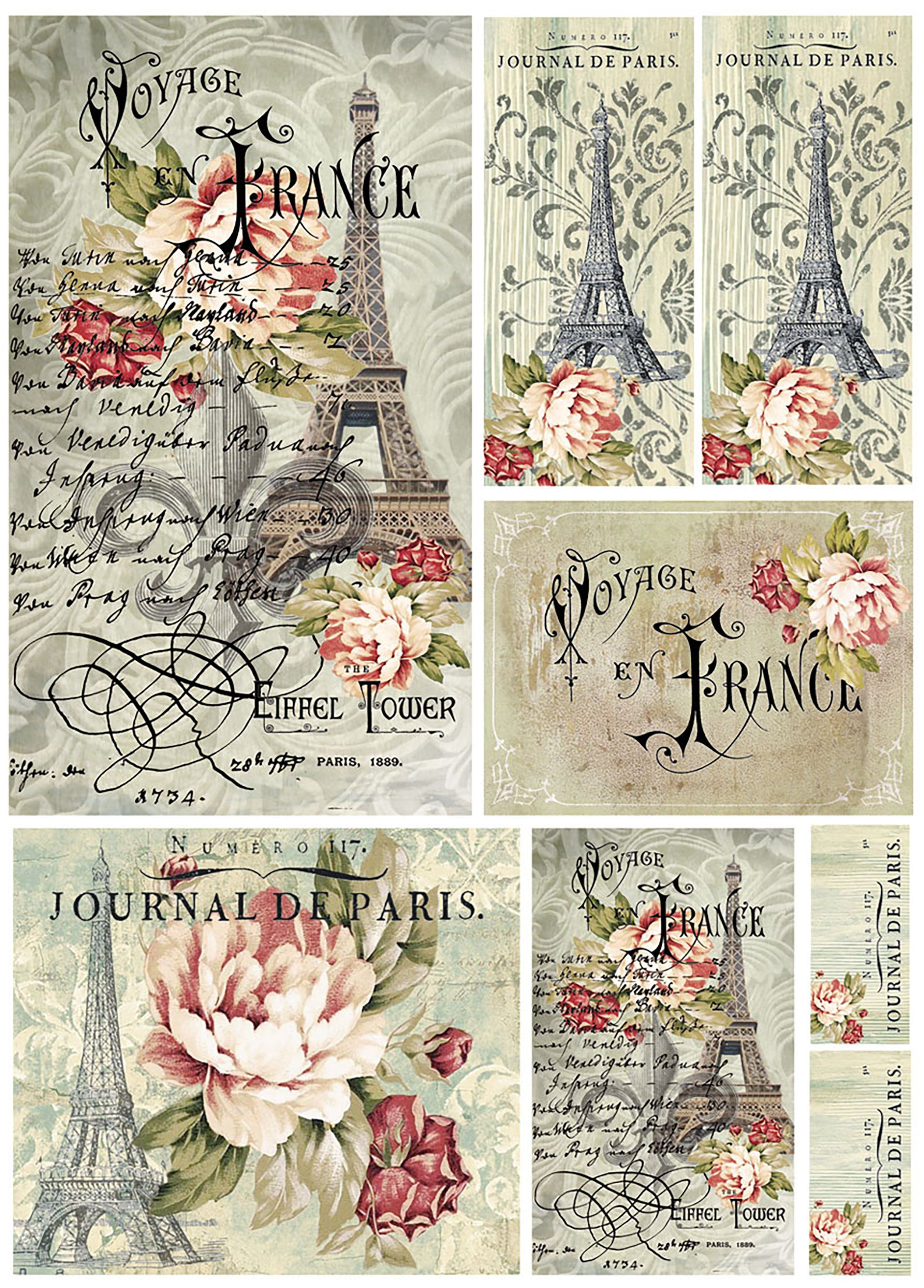 Stamperia Rice Paper Sheet A4 Voyage En France | Free Printable - Free Printable Decoupage Images