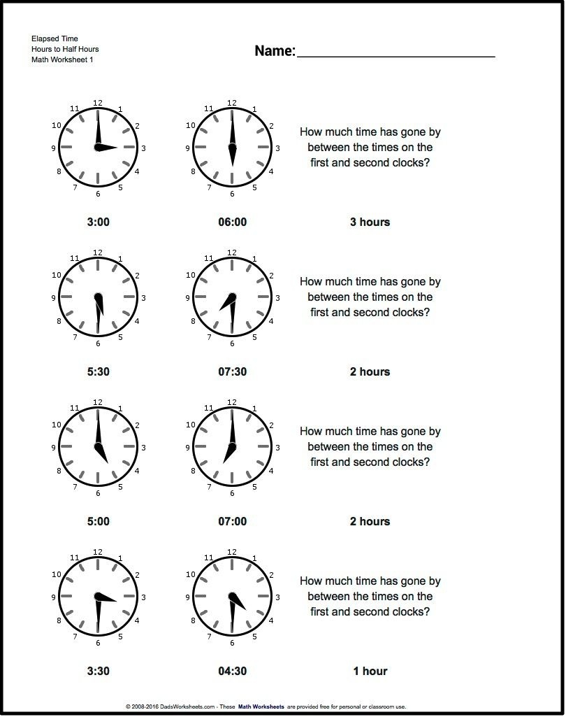 Start From Half Hours Analog Elapsed Time Worksheet! Start From Half - Elapsed Time Worksheets Free Printable