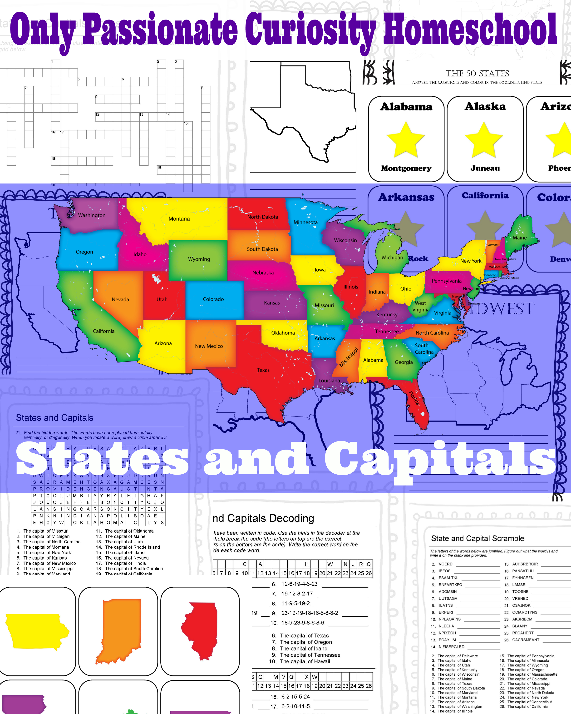 States And Capitals Pack - Only Passionate Curiosity - Free Printable States And Capitals Worksheets