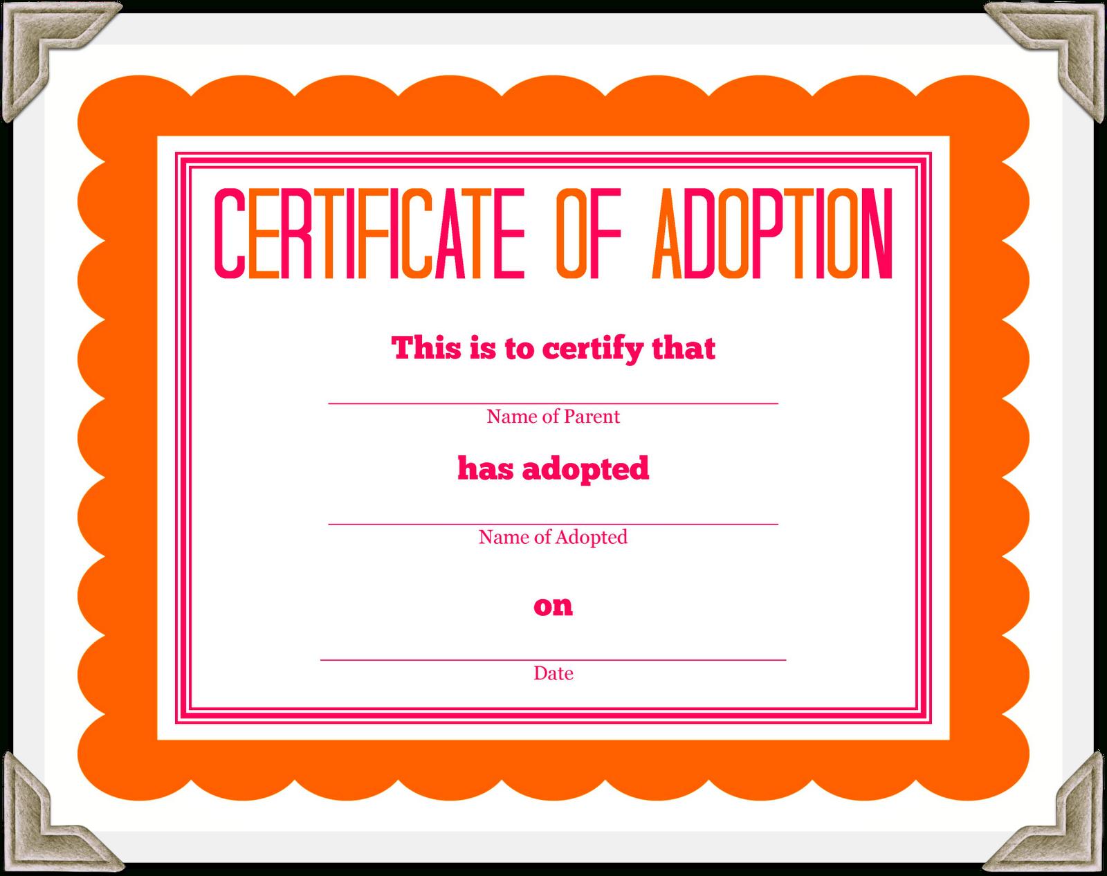 Stuffed Animal Adoption Certificate - Free Printable Adoption Certificate