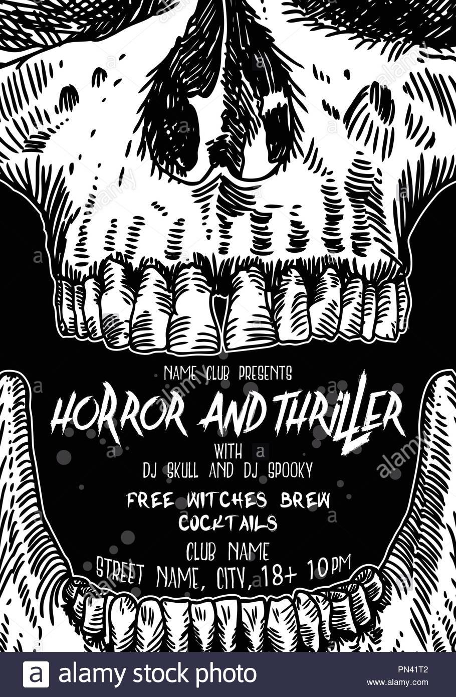 Stylish Black And White Halloween Invitation Poster And Card With - Halloween Invitations Free Printable Black And White