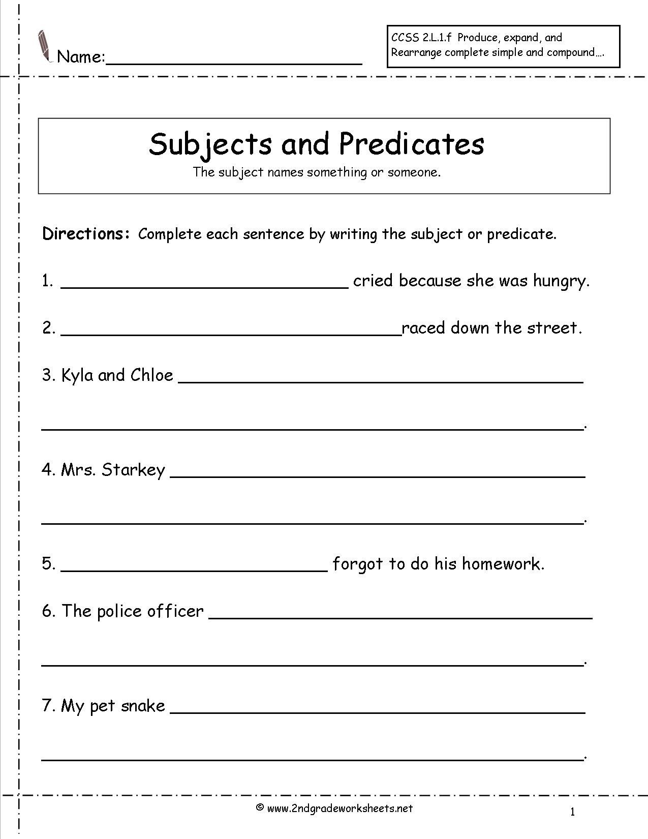 Subject And Predicate Worksheet | 2Rs 1.3 Henry And Mudge | Subject - Free Printable Subject Predicate Worksheets 2Nd Grade