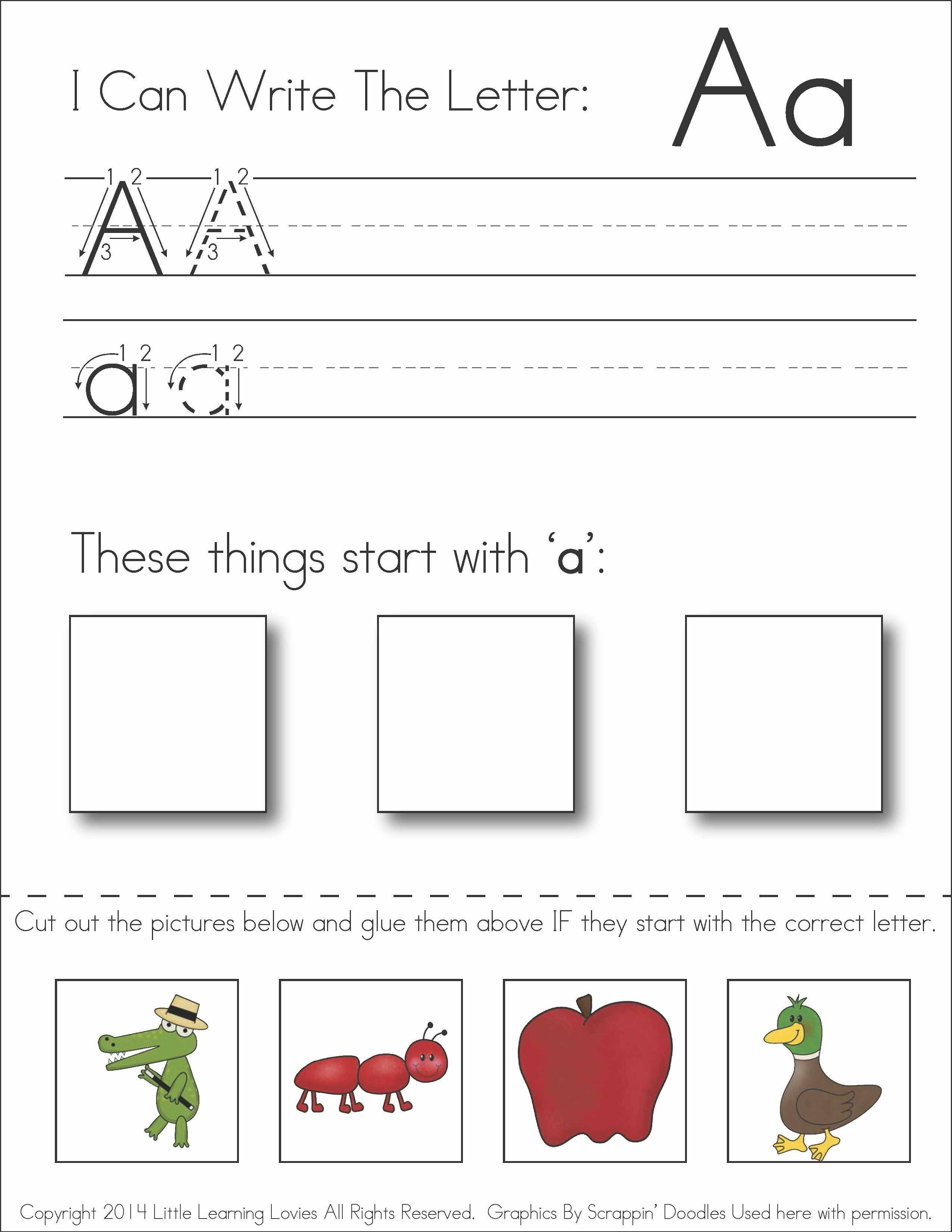 Subscriber Exclusive Freebie!} - Letter A: Write, Cut & Paste - Free Printable Kindergarten Worksheets Cut And Paste