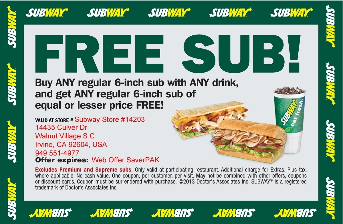 Subway Coupons Printable Codes | July 2017 || Takecoupon With Regard - Free Printable Subway Coupons 2017