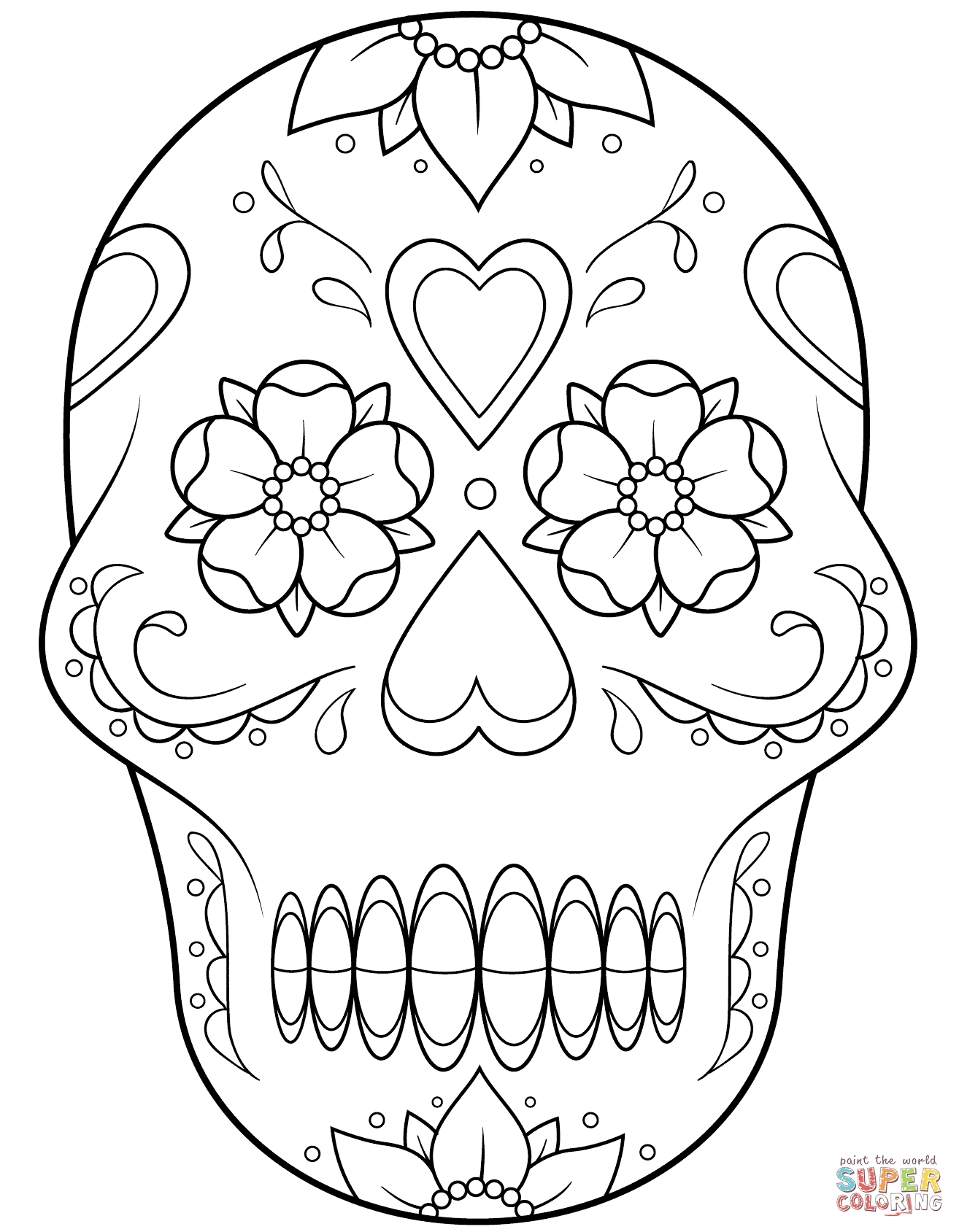 Sugar Skull With Flowers And Hearts Coloring Page | Free Printable - Free Printable Sugar Skull Coloring Pages