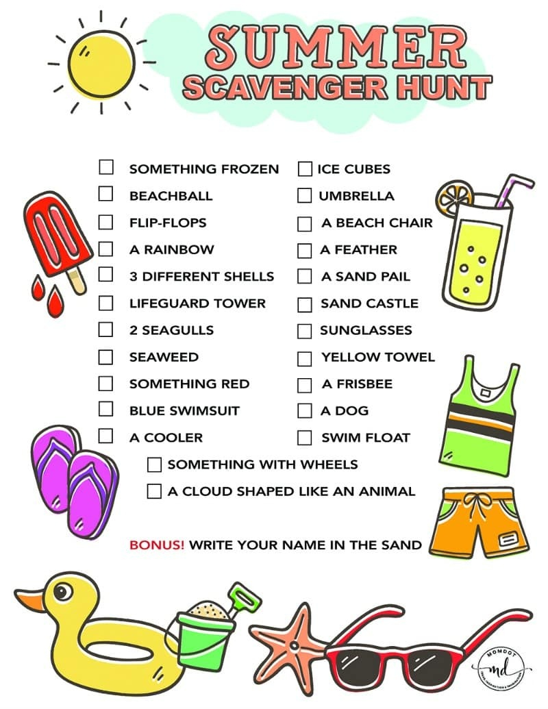 Summer Scavenger Hunt Free Printable For Kids - - Free Printable Treasure Hunt Games