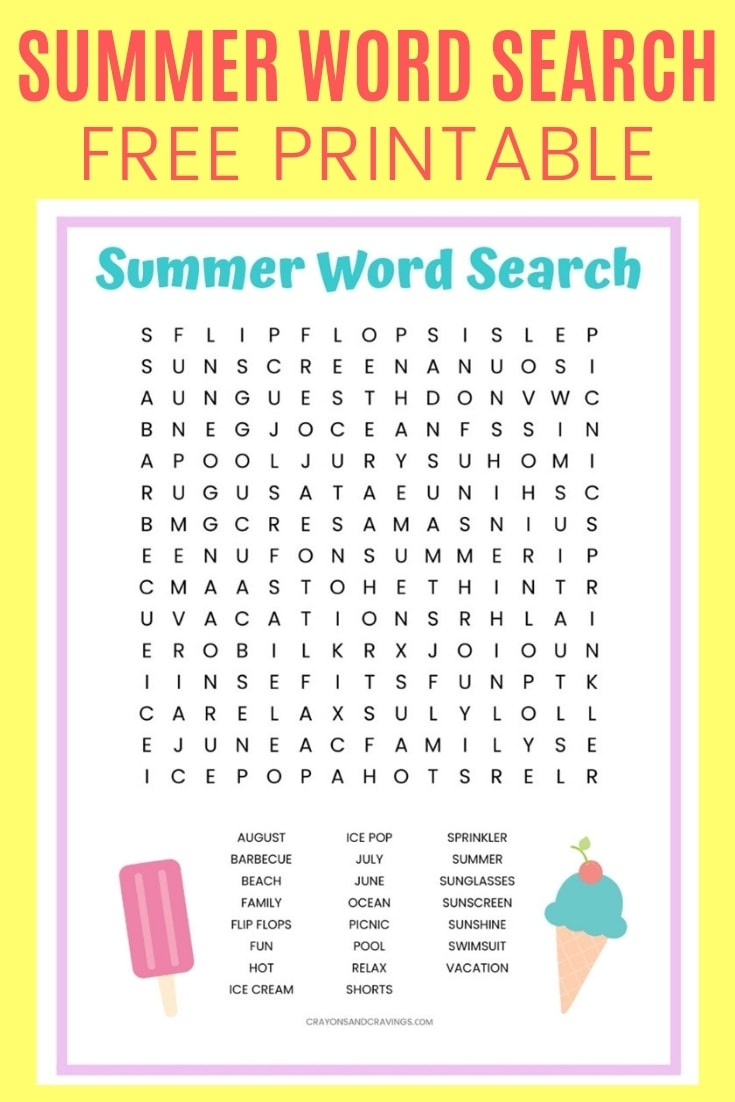 Summer Word Search Free Printable Worksheet For Kids - Free Printable Summer Pictures
