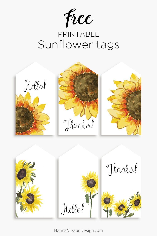 Sunflower Tags | Printables | Gift Tags Printable, Free Printable - Free Printable Sunflower Template