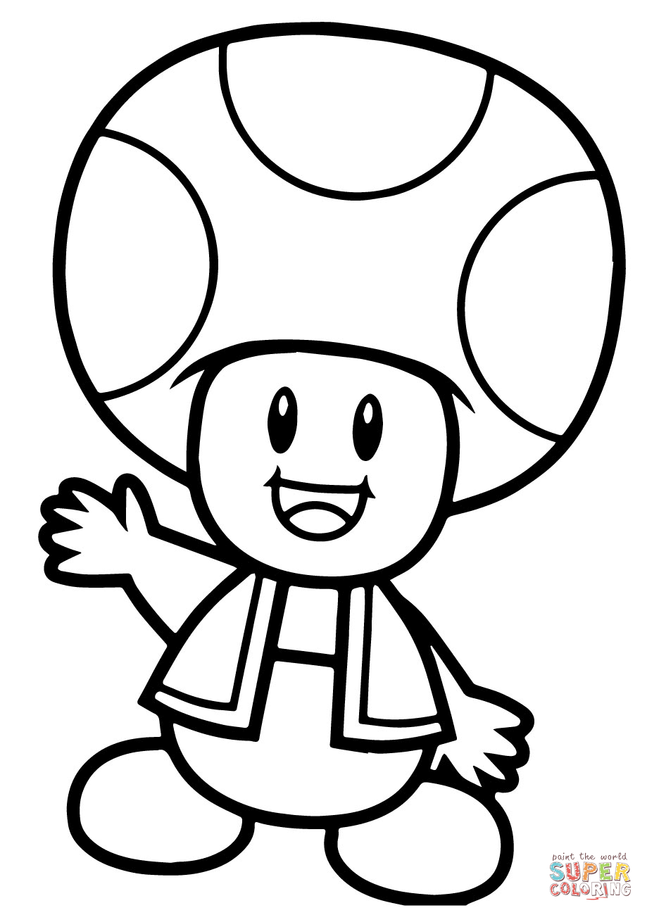 Super Mario Bros. Toad Coloring Page | Free Printable Coloring Pages - Mario Coloring Pages Free Printable
