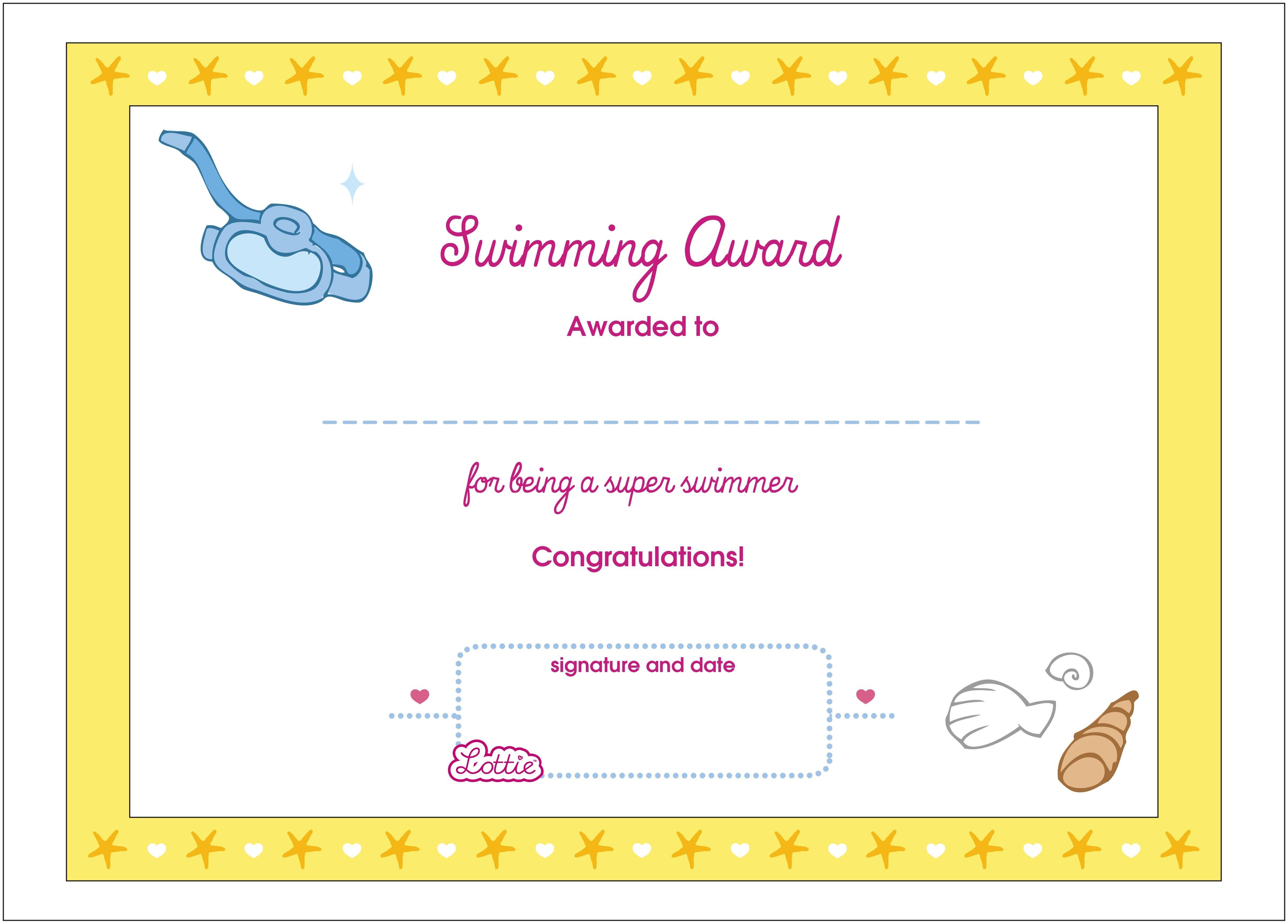 Swimming Printable Award Certificate – Lottie Dolls - Free Printable Swimming Certificates For Kids