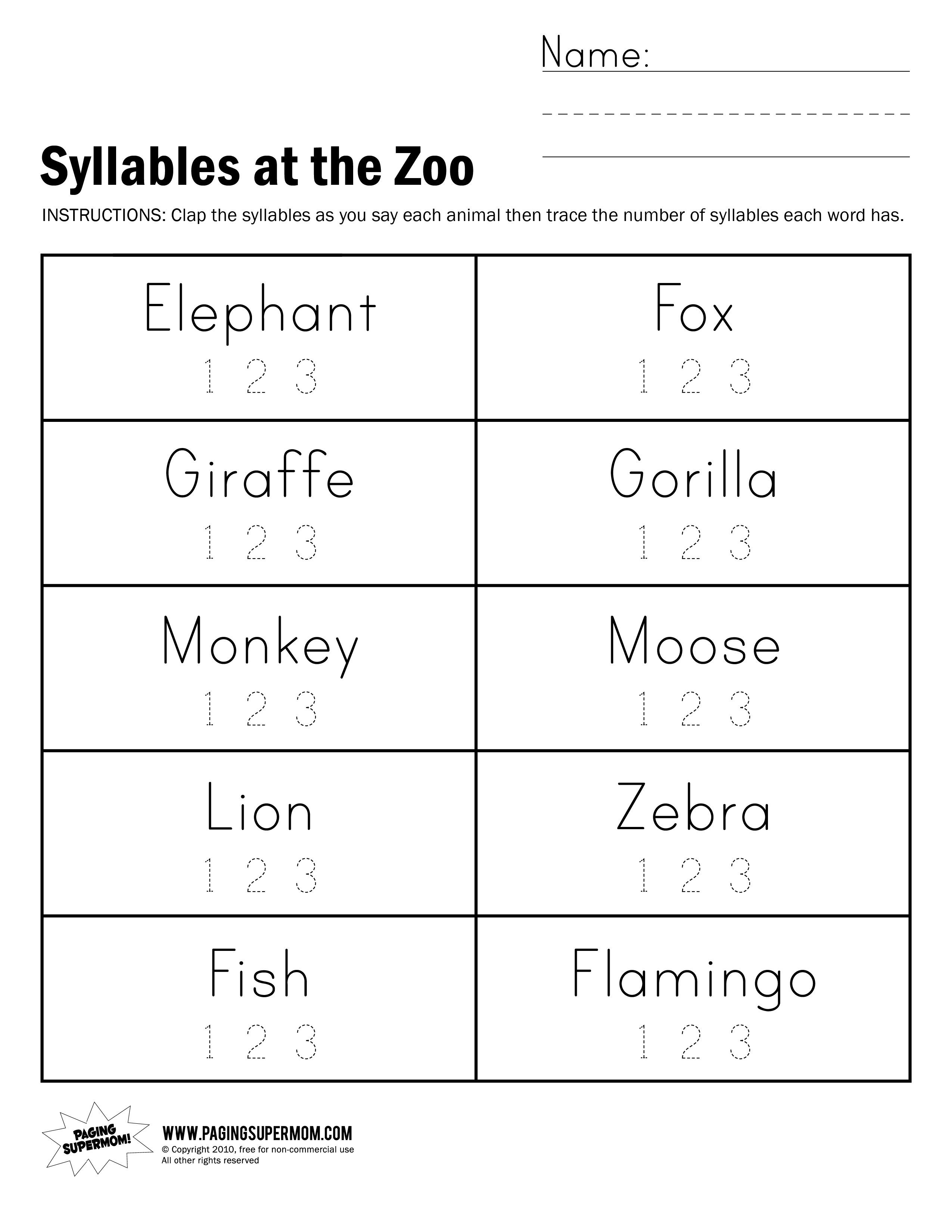 Syllables At The Zoo Worksheet | Paging Supermom | School Practice - Free Printable Open And Closed Syllable Worksheets