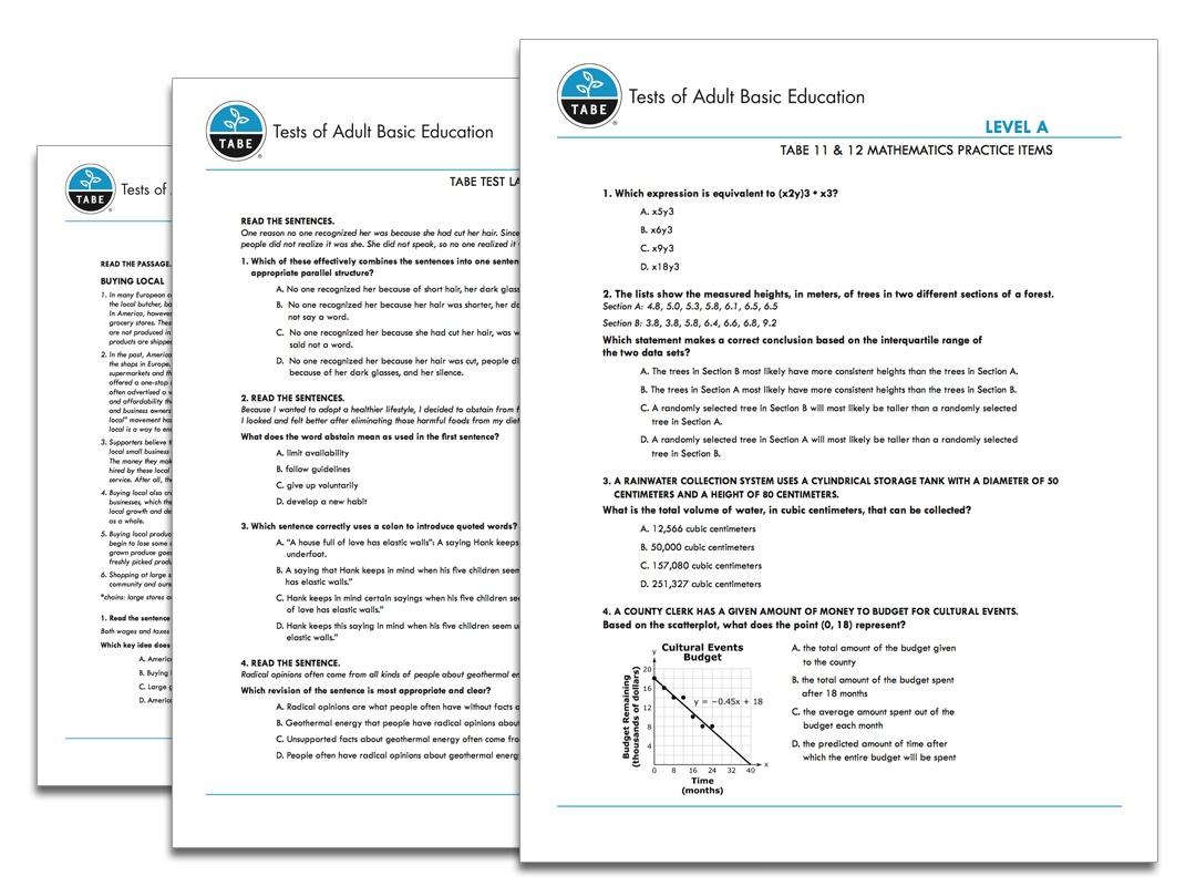 Tabe 11&12 Sample Practice Items   Tabetest   Tabetest - Tabe Practice Test Free Printable