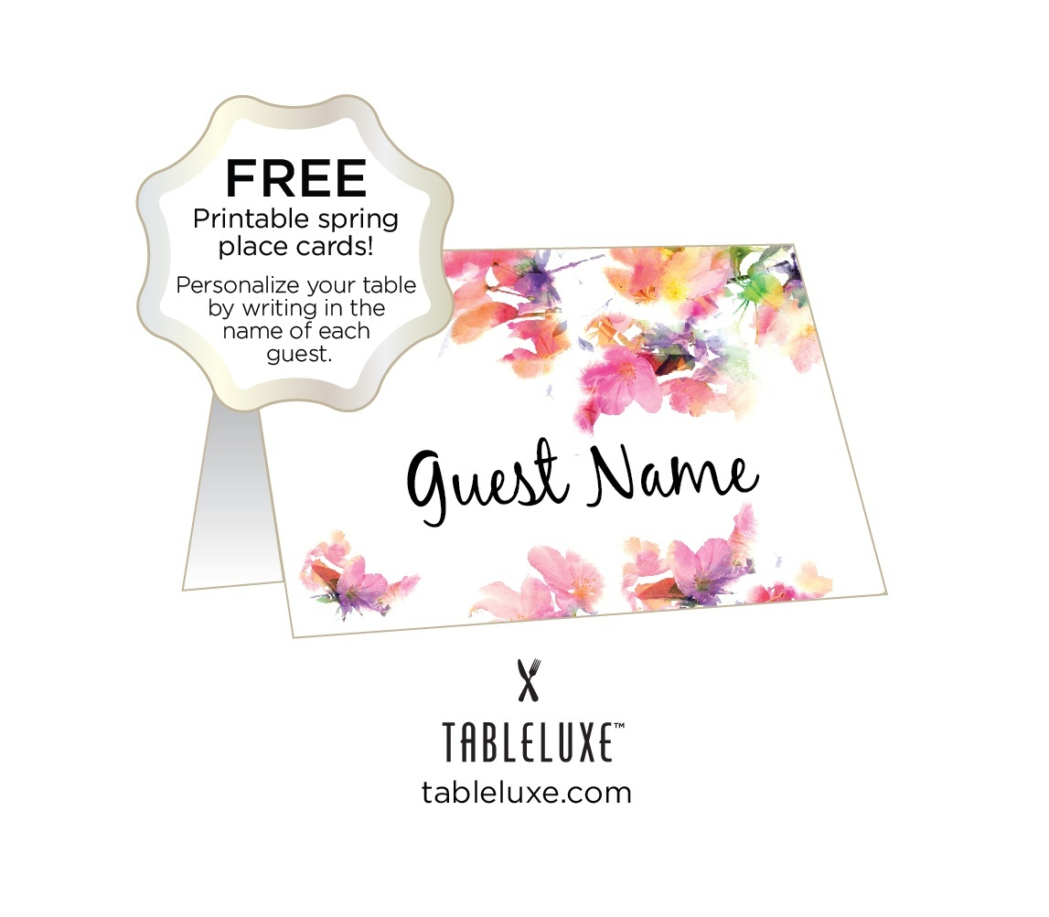 Tableluxe Printable Spring Place Cards - Free Printable Place Cards