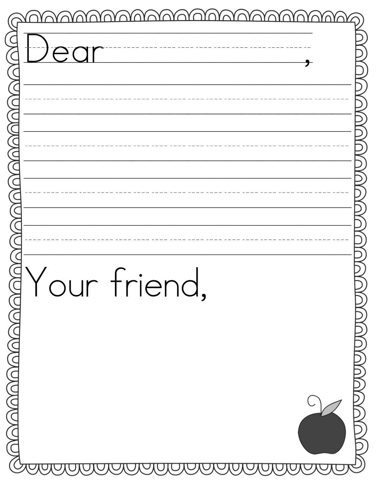 Teacher Idea Factory: Pen Pal News + Friendly Letter Freebie   First - Free Printable Letter Writing Templates