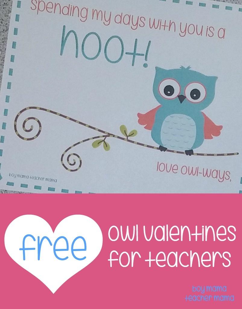 Teacher Mama: Free Printable Owl Valentines For Teachers - Boy Mama - Free Printable Owl Valentine Cards