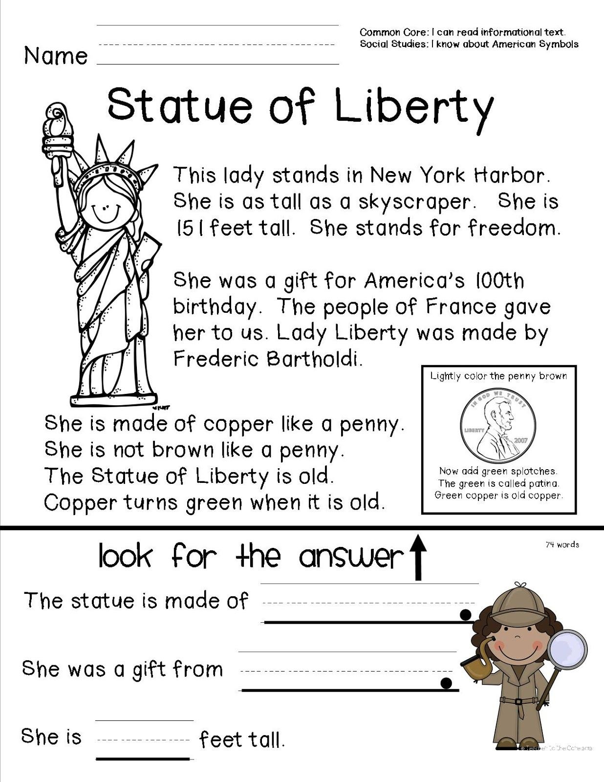 Teacher To The Core: American Symbols | Top Teachers Smorgasboard - Social Studies Worksheets First Grade Free Printable