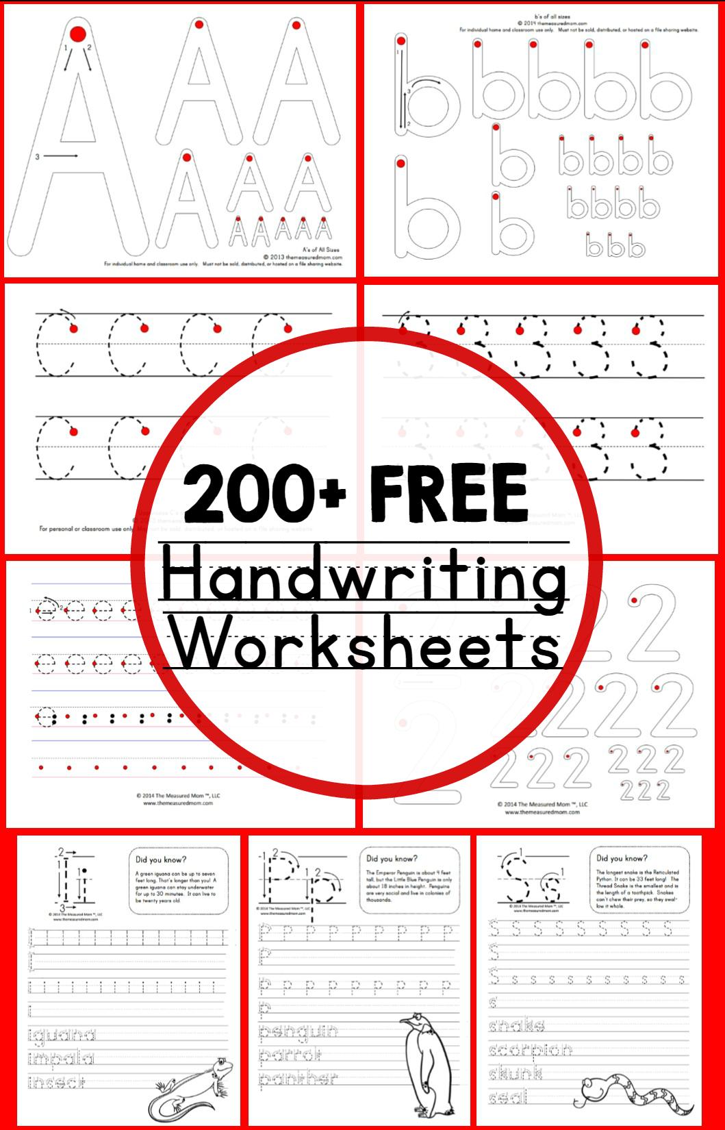 Teaching Handwriting - The Measured Mom - Free Printable Handwriting Sheets For Kindergarten