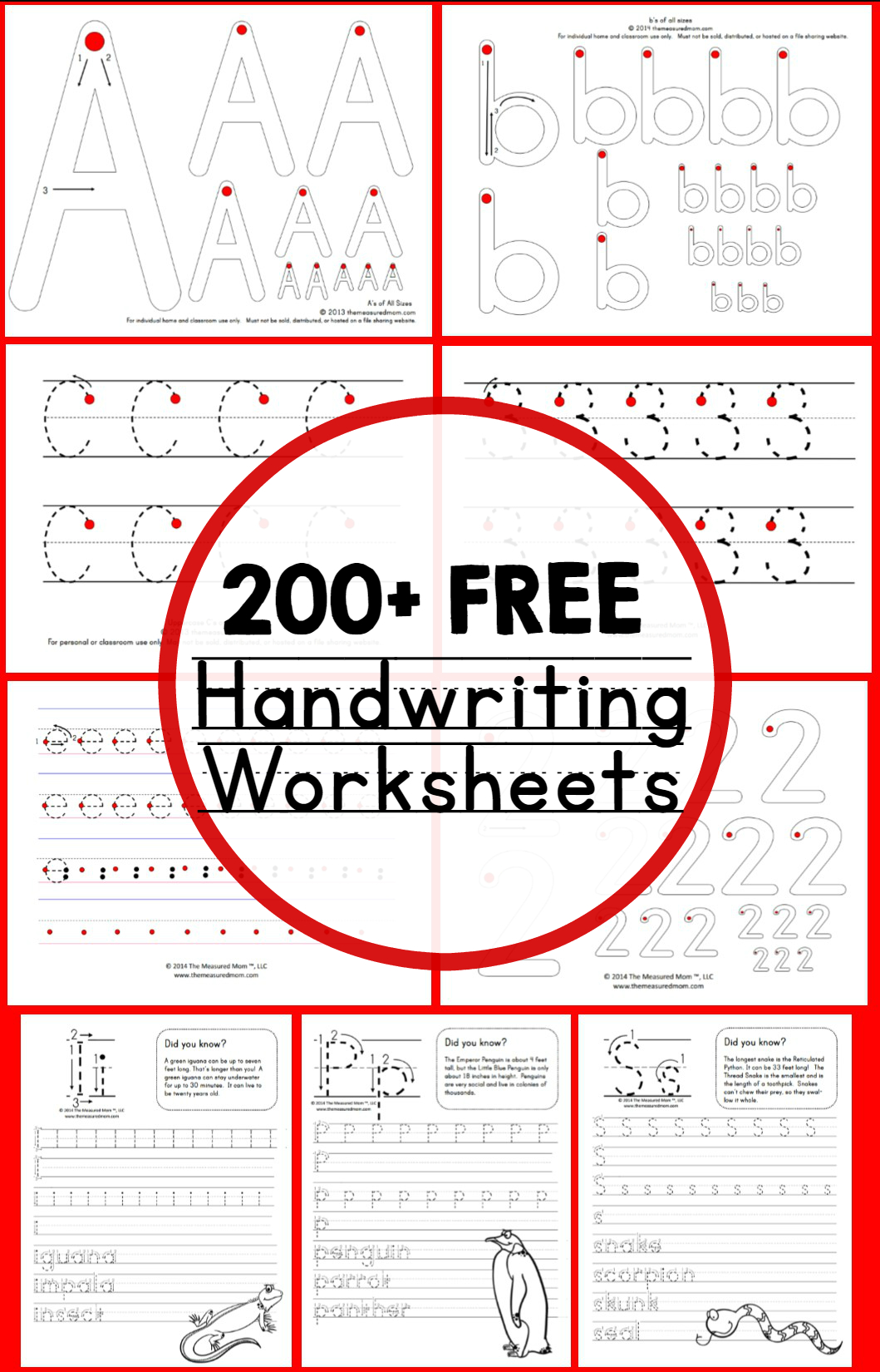 Teaching Handwriting - The Measured Mom - Free Printable Handwriting Worksheets