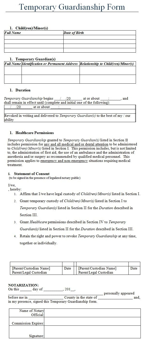 Temporary Guardianship Form Template | My Board | Legal Forms, Child - Free Printable Guardianship Forms