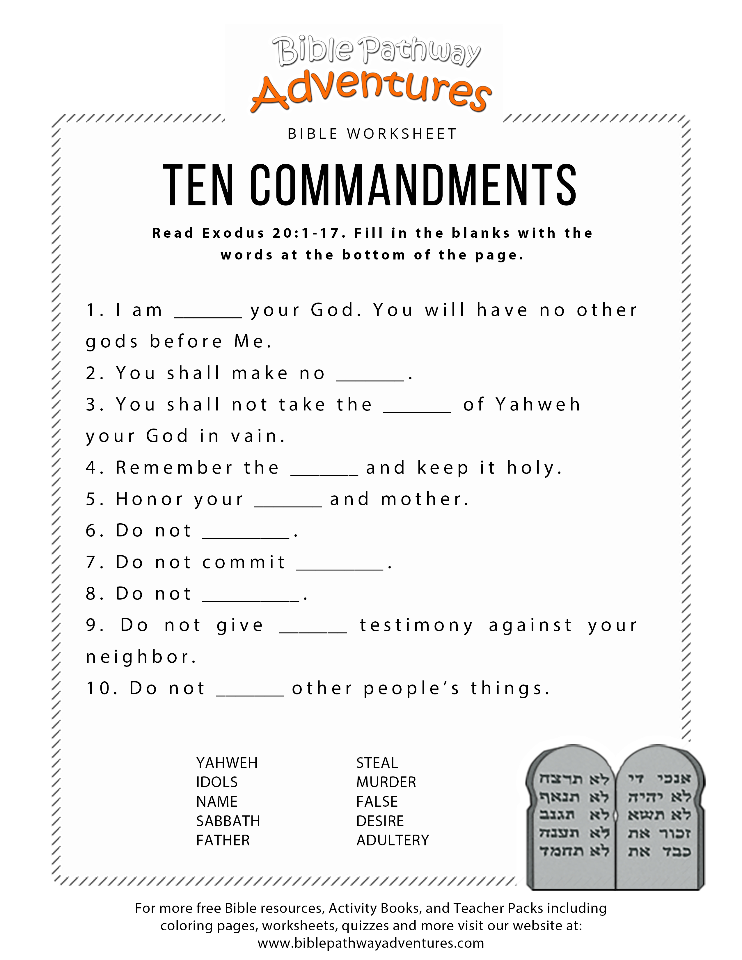 Ten Commandments Worksheet For Kids   Worksheets For Psr   Bible - Free Printable Youth Bible Study Lessons