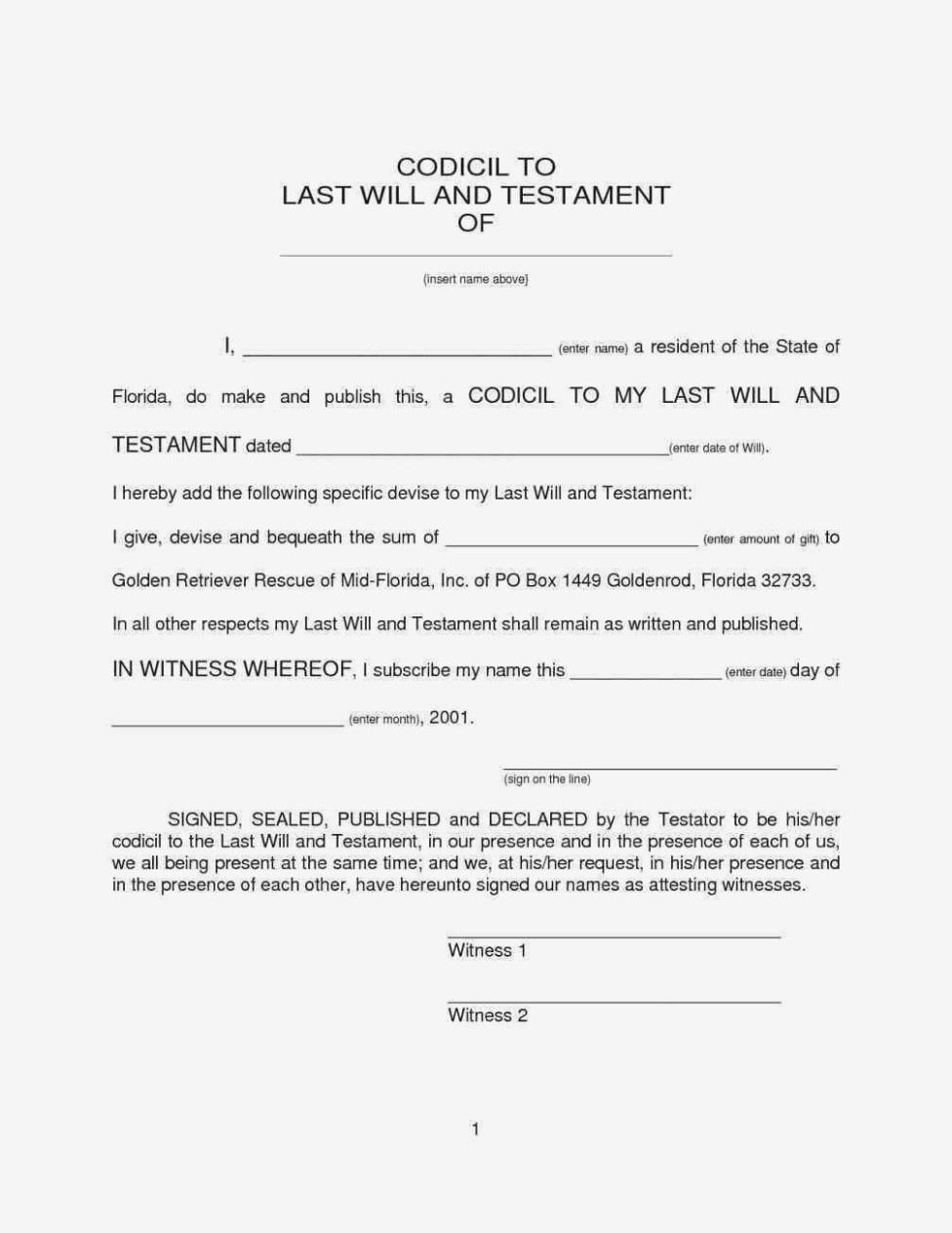 Texas Codicil Form – Denmar.impulsar – Form Information - Free Printable Codicil Form