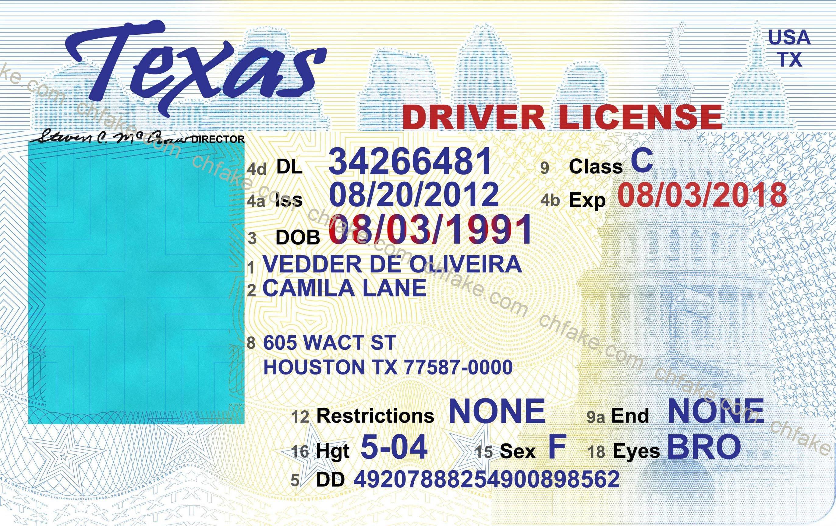 Texas Ids | Buy Fake Id | Scannable Identification - Free Printable Fake Drivers License