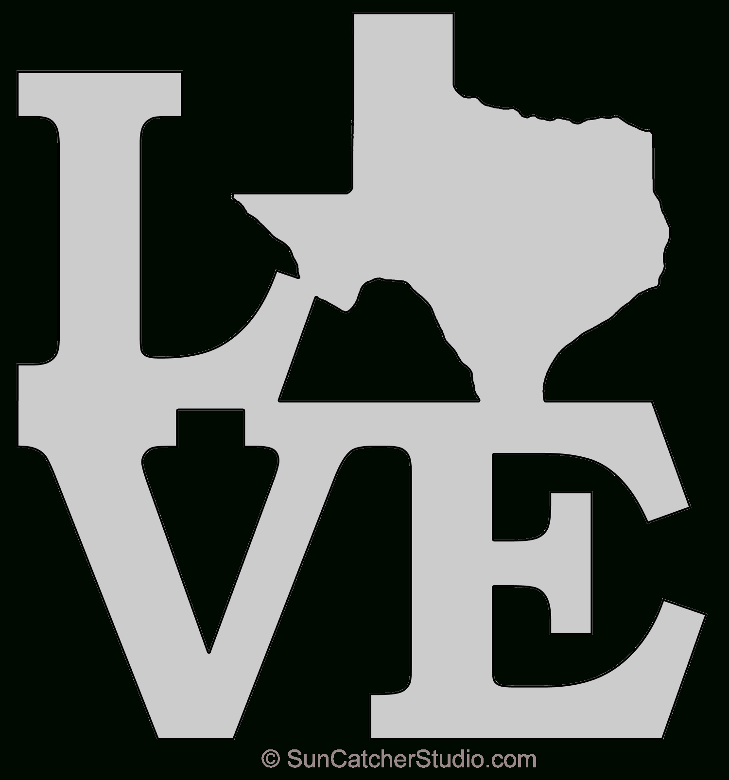 Texas - Map Outline, Printable State, Shape, Stencil, Pattern - Free Printable Scroll Saw Patterns