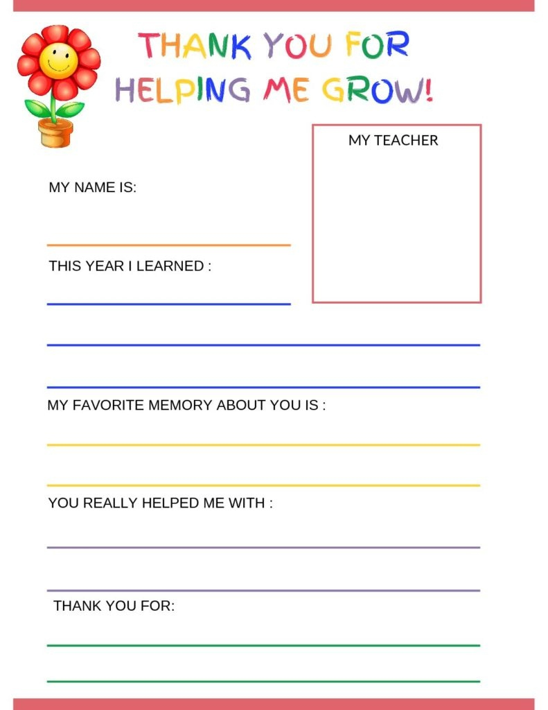 Thank You Letter To Teacher From Student - Free Printable Template - Free Printable Teacher Notes To Parents