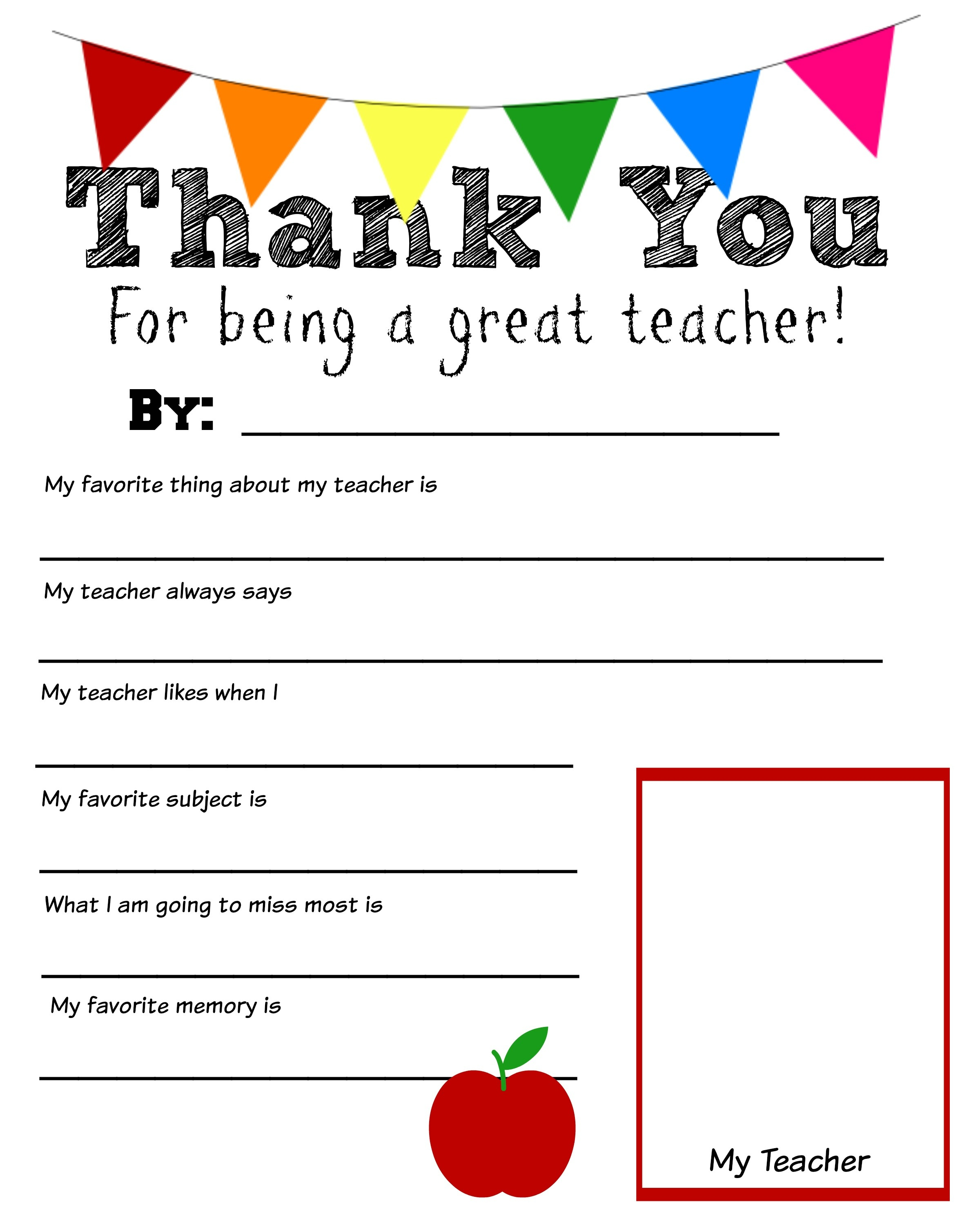 Thank You Teacher Free Printable - Free Teacher Appreciation Week Printable Cards
