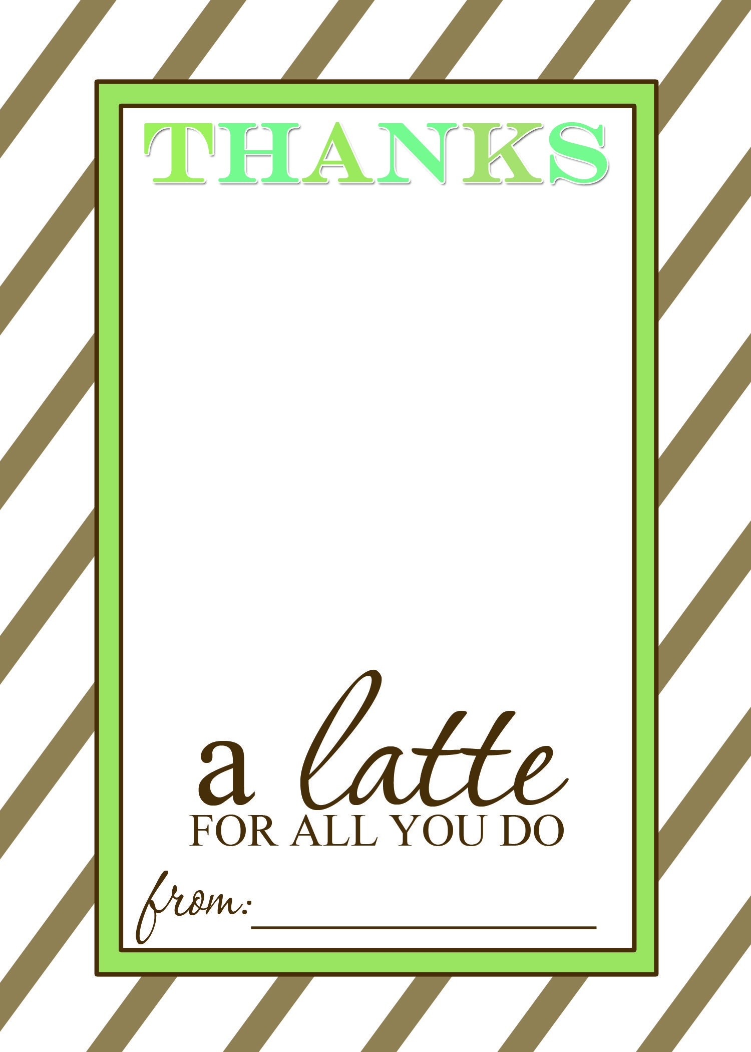 Thanks A Latte Free Printable Gift Card Holder Teacher Gift | Las - Thanks A Latte Free Printable Card
