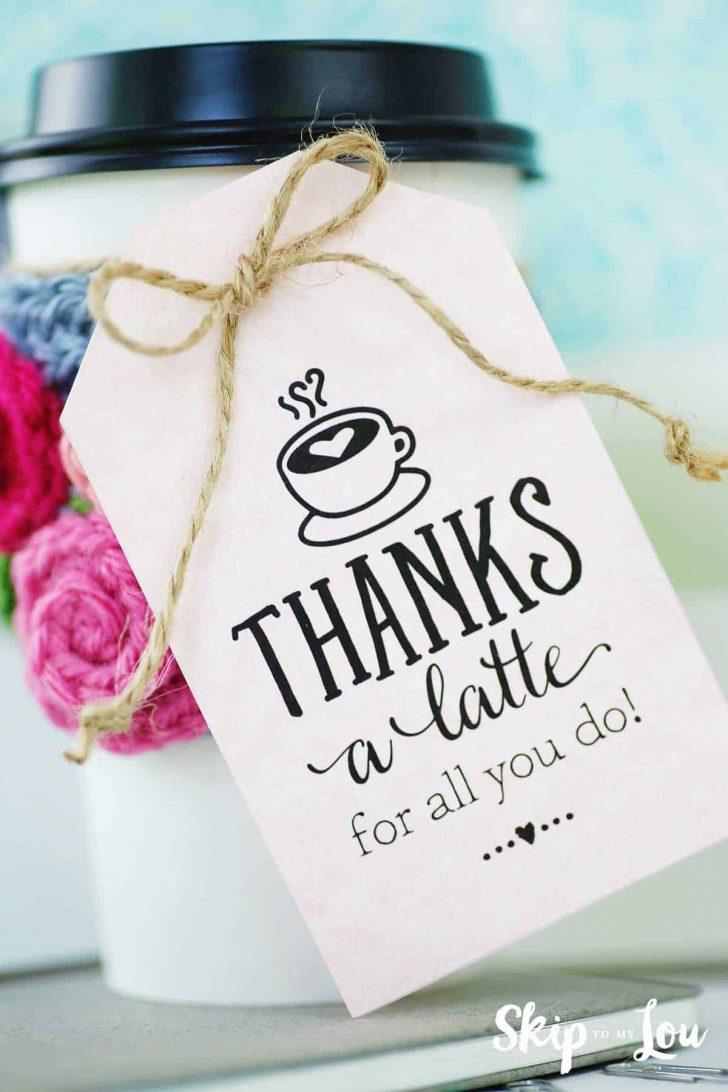 Thanks A Latte Free Printable Gift Tag