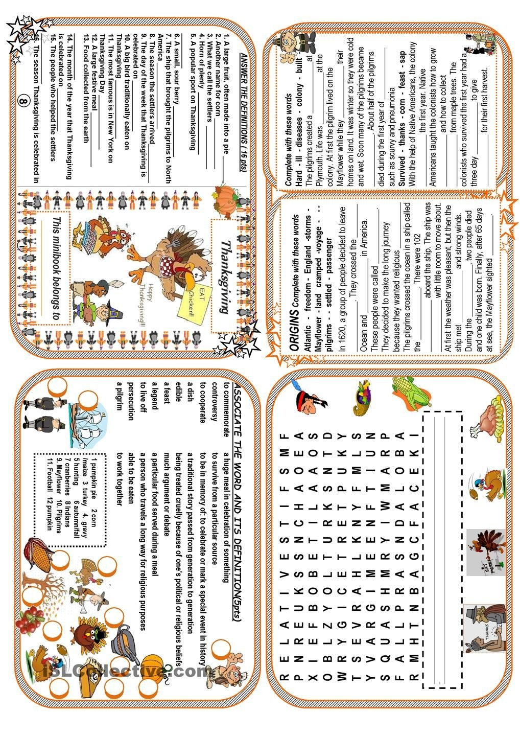 Thanksgiving Minibook | Esl Worksheets Of The Day | Thanksgiving - Free Thanksgiving Mini Book Printable
