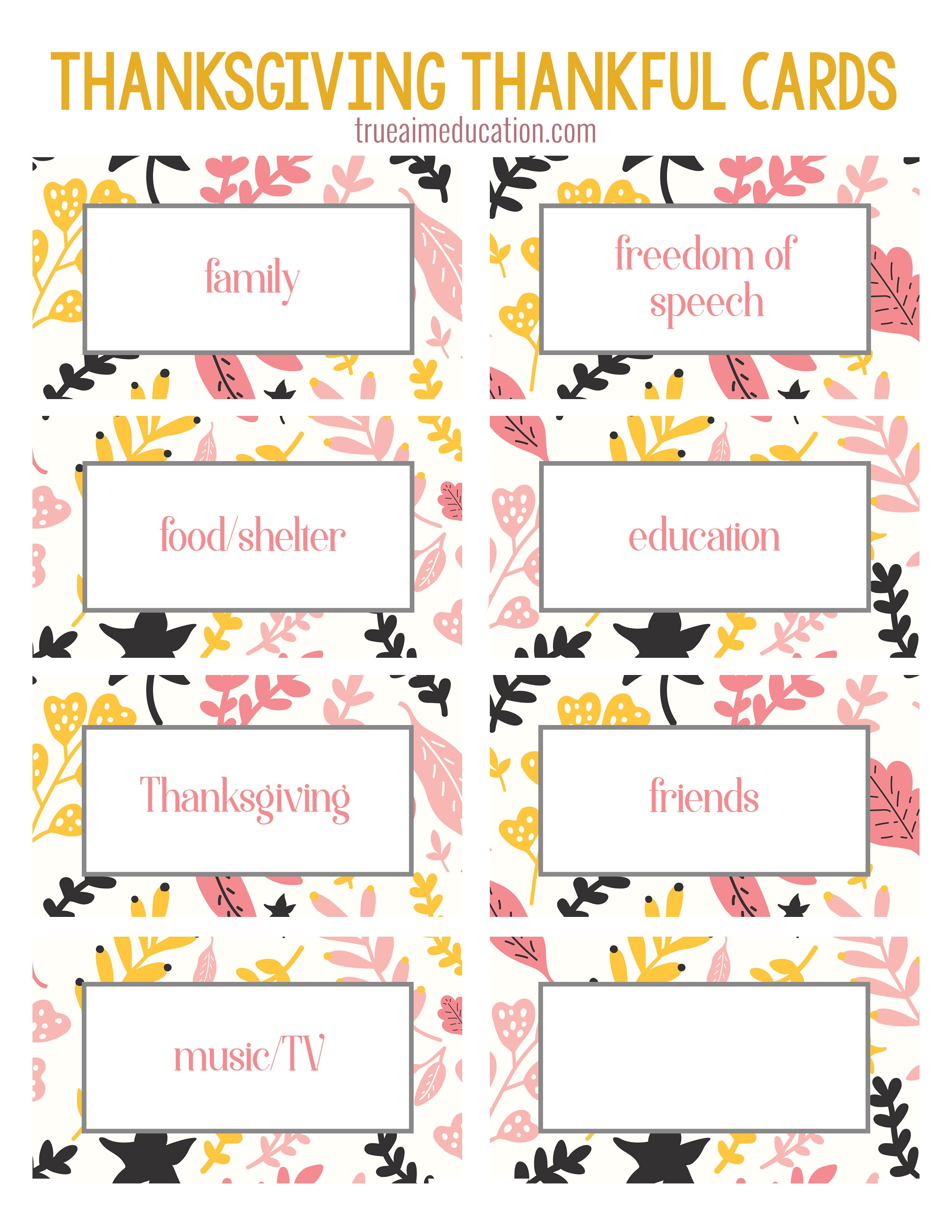 Thanksgiving Thankfulness With Free Printable Cards - Free Printable Thanksgiving Cards