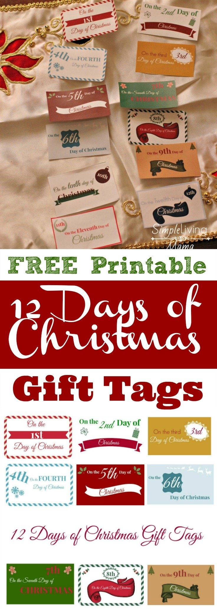 The 12 Days Of Christmas Ideas + Printable Gift Tags - Simple Living - Free Printable 12 Days Of Christmas Gift Tags