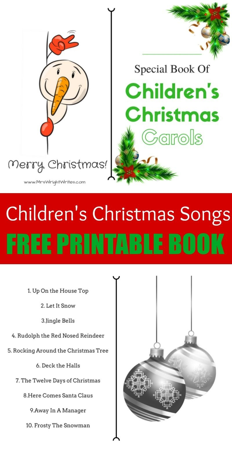The Best Children's Christmas Songs - Free Printable Book - Free Printable Christmas Carols Booklet