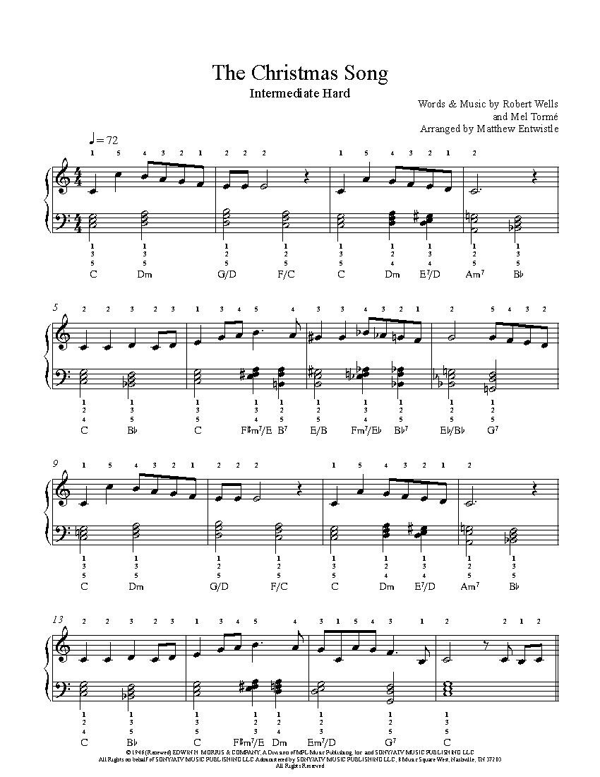 The Christmas Songnat King Cole Piano Sheet Music   Intermediate - Christmas Songs Piano Sheet Music Free Printable