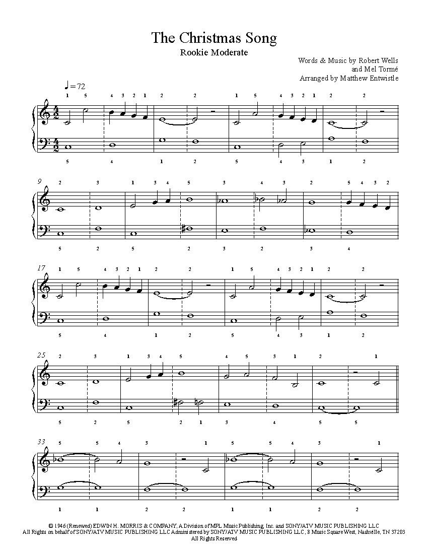 The Christmas Songnat King Cole Piano Sheet Music   Rookie Level - Christmas Songs Piano Sheet Music Free Printable