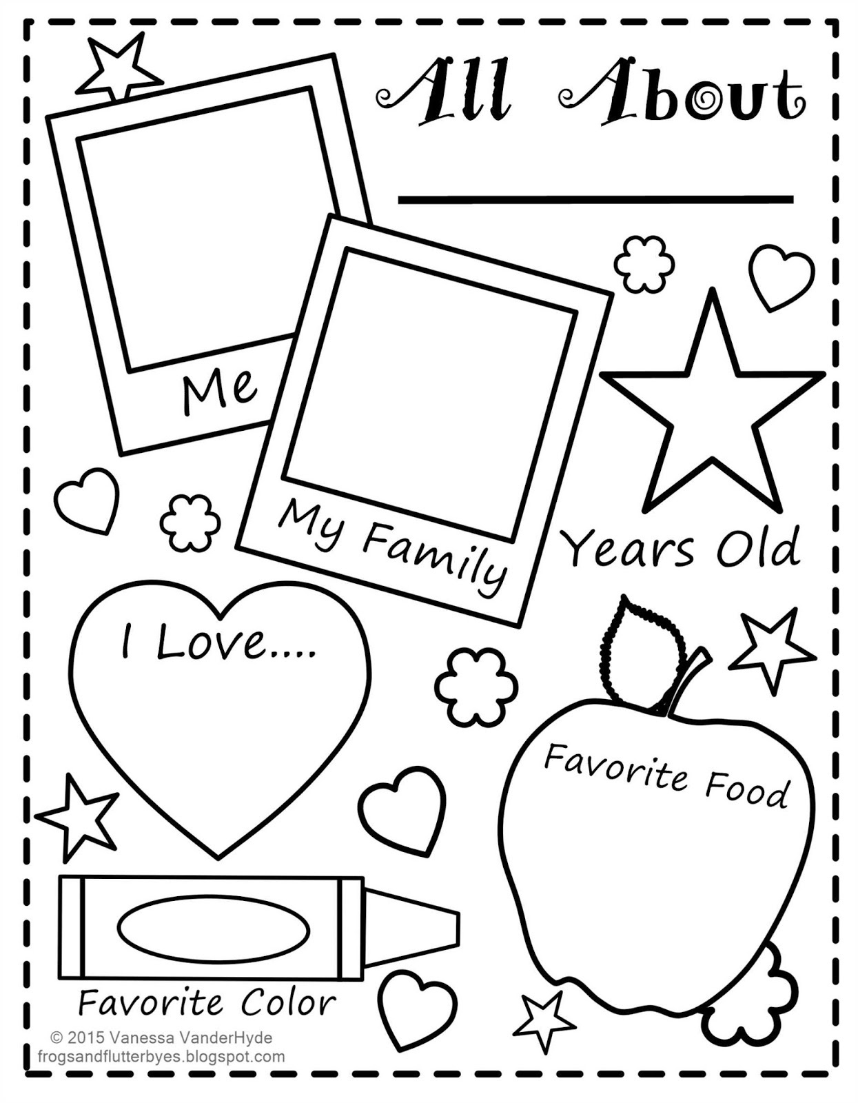The Frogs And The Flutterbyes: All About Me Free Printable - Free Printable All About Me Poster