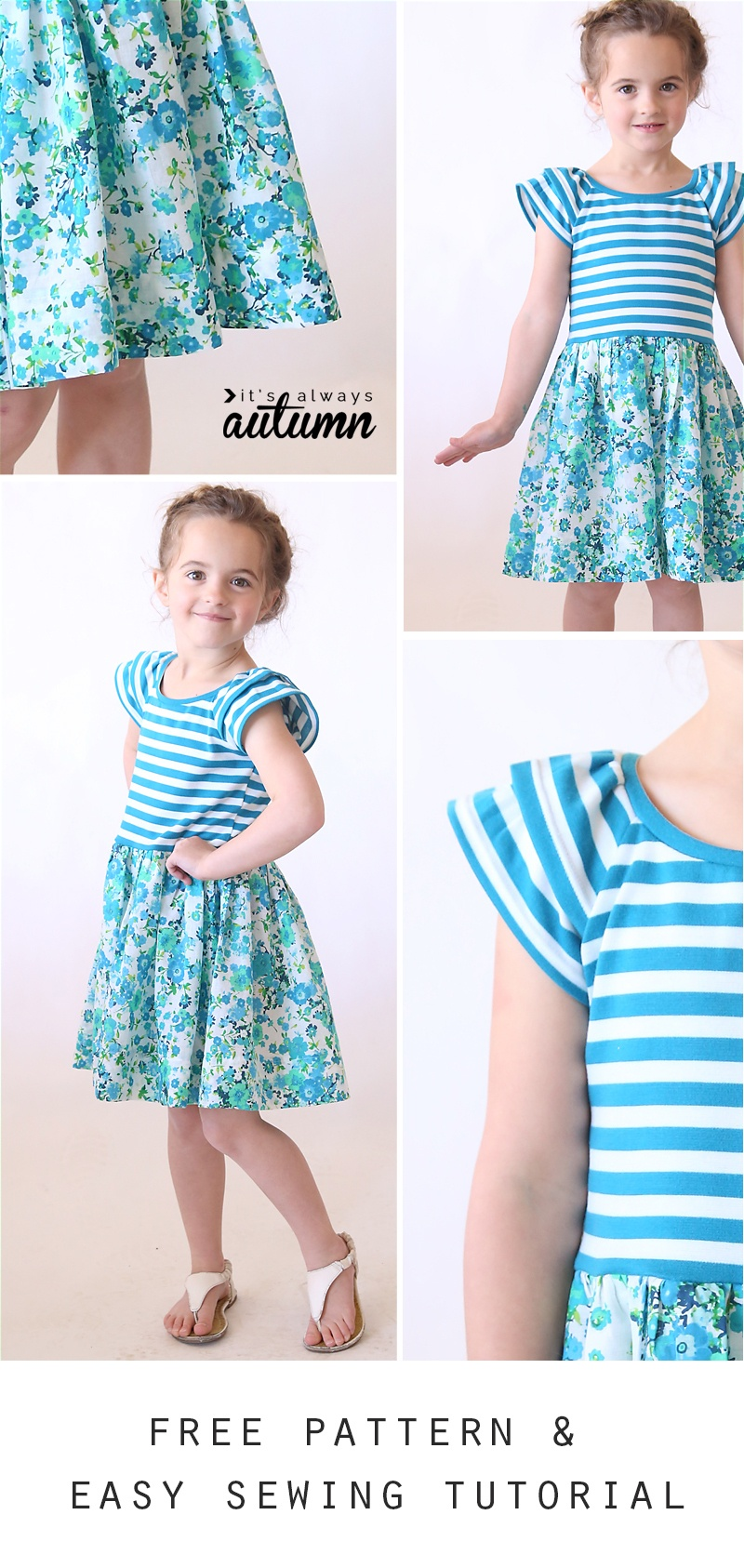 """The """"hello Spring"""" Girls' Dress   Free Pattern In Size 4/5 - It's - Free Printable Sewing Patterns For Kids"""