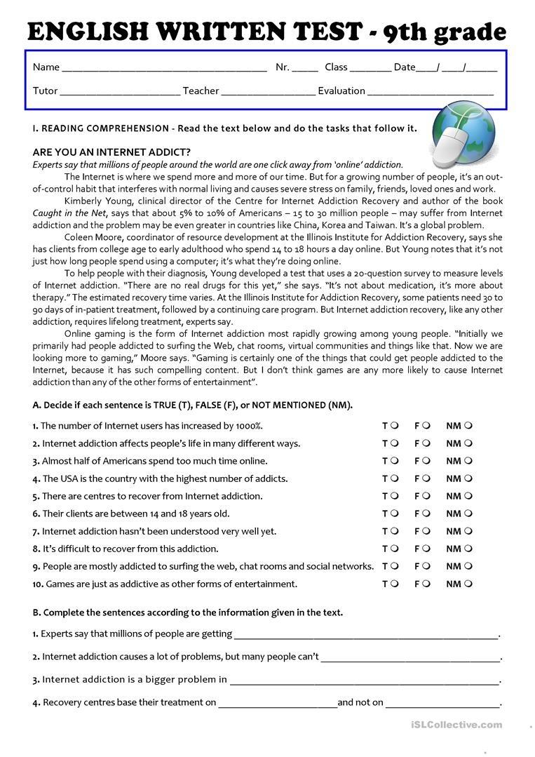 The Internet (Test 9Th Grade - A2/b1) Worksheet - Free Esl Printable - 9Th Grade English Worksheets Free Printable