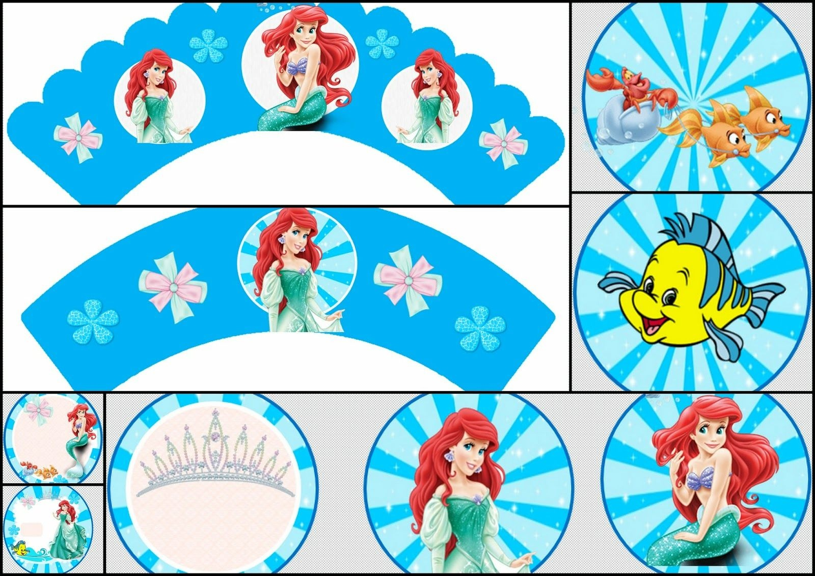 The Little Mermaid: Free Printable Toppers And Wrappers. | Party - Free Printable Mermaid Cupcake Toppers